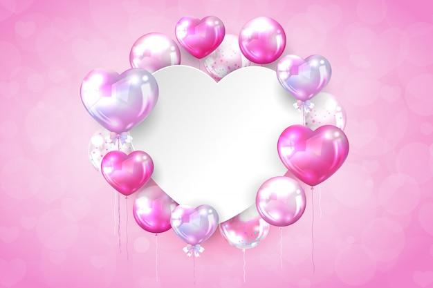 Rosa glatte ballone mit kopienraum in der herzform Kostenlosen Vektoren
