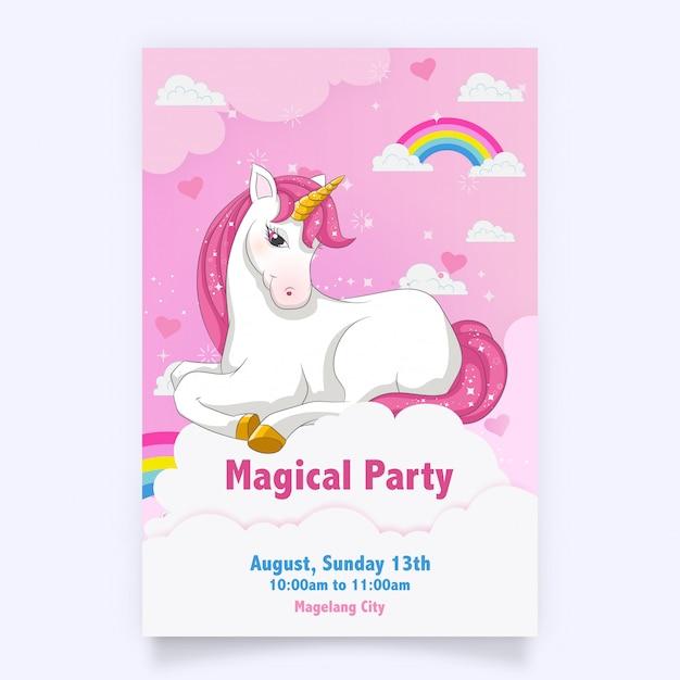 Rosa glückwunschkarte mit einem weißen einhorn Premium Vektoren