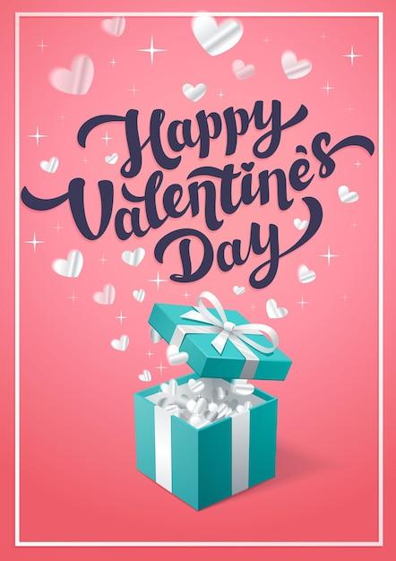 Rosa grußkarte des glücklichen valentinstags mit türkisfarbener geschenkbox Premium Vektoren