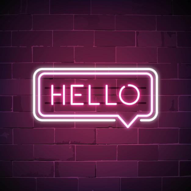 Rosa hallo in einer spracheblasenleuchtreklame Kostenlosen Vektoren