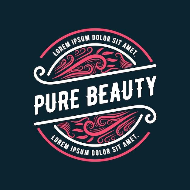Rosa hand gezeichnete feminine und florale logo-abzeichen geeignet für spa-salon haut haare und schönheit unternehmen Premium Vektoren