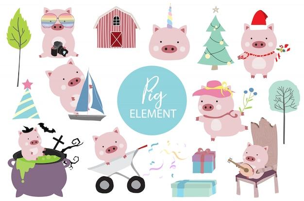 Rosa hand gezeichnetes schwein mit schiff, schwein in halloween, hut, weihnachtsbaum und regenbogengläsern Premium Vektoren