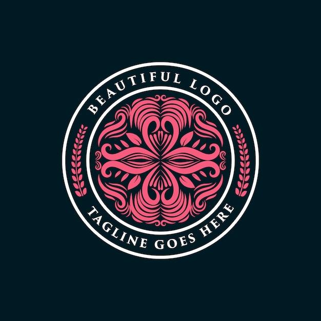Rosa handgezeichnete weibliche und florale logo-abzeichen geeignet für spa-salon haut haar schönheit boutique und kosmetikunternehmen premium Premium Vektoren