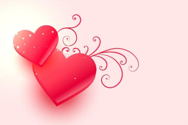Rosa herzen für glücklichen valentinstag Kostenlosen Vektoren