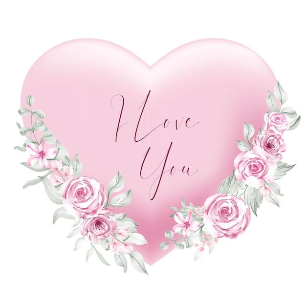 Rosa herzform des valentinsgrußes ich liebe sie wörter mit aquarellblume und -blättern Kostenlosen Vektoren