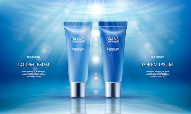 Rosa Hintergrund mit feuchtigkeitsspendenden kosmetischen Tag und Nacht Premium-Produkte Kostenlose Vektoren