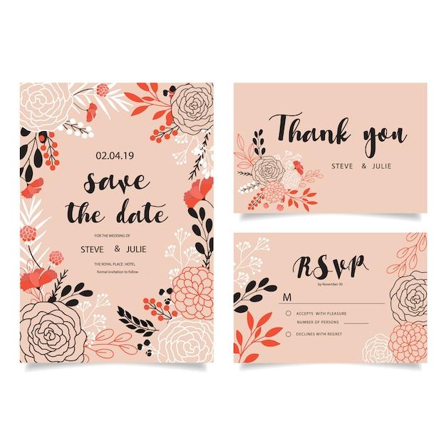 Rosa Hochzeitskarten Mit Blumen Download Der Kostenlosen Vektor