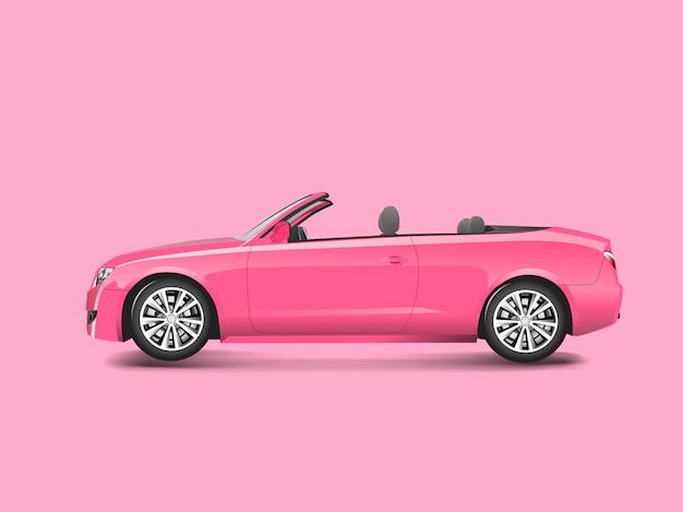 Rosa kabriolett in einem rosa hintergrundvektor Kostenlosen Vektoren