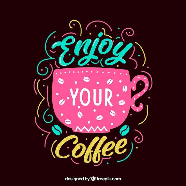 Rosa kaffeedesign mit schriftzug Kostenlosen Vektoren