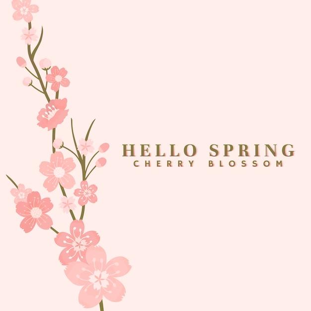 Rosa kirschblüten-hintergrundvektor Kostenlosen Vektoren