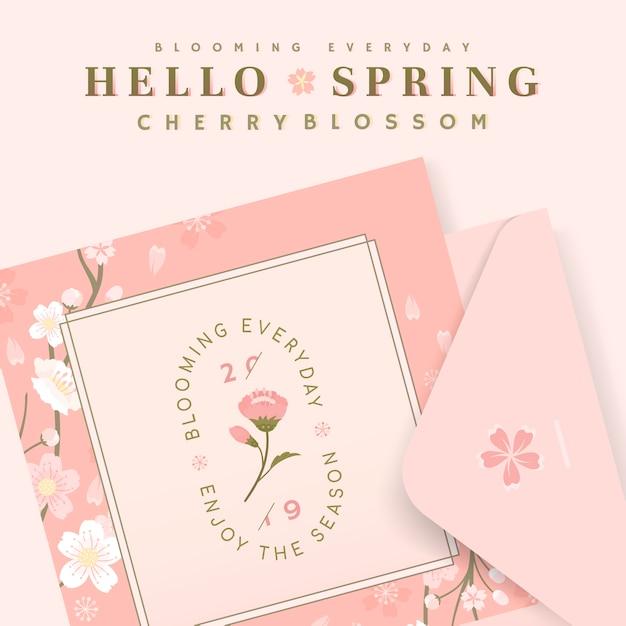 Rosa kirschblütenpostkartenschablonenvektor Kostenlosen Vektoren