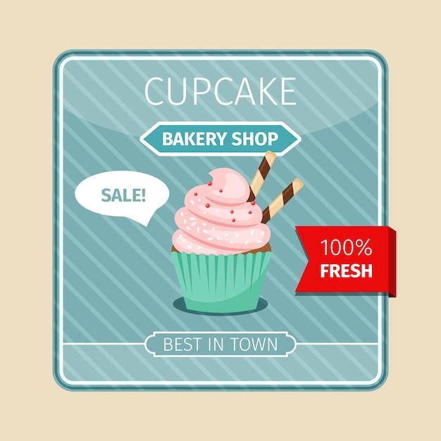 Rosa kleiner kuchen mit schokoladenrohrkarte Premium Vektoren