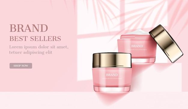 Rosa kosmetische cremeanzeigen, schablone Premium Vektoren