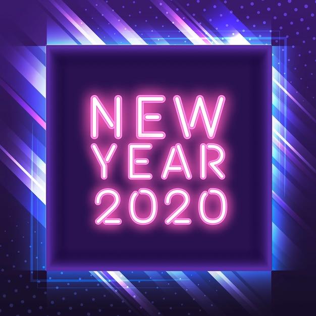 Rosa leuchtreklamevektor des neuen jahres 2020 Kostenlosen Vektoren