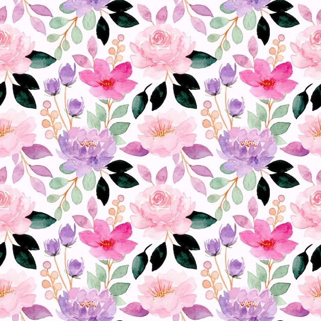 Rosa lila aquarellblumen nahtloses muster Premium Vektoren