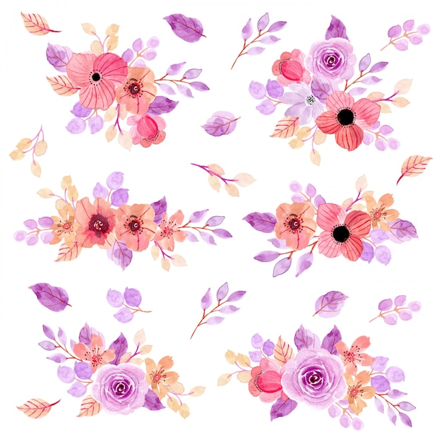 Rosa lila blumenaquarell-anordnungssammlung Premium Vektoren
