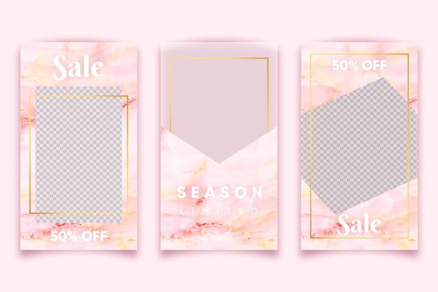 Rosa marmorart für den verkauf von produkten auf instagram geschichtenansammlung Kostenlosen Vektoren