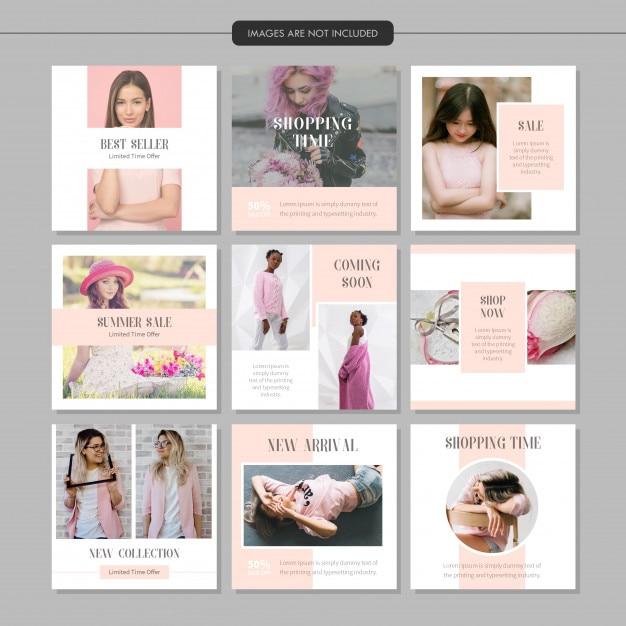 Rosa mode social media beitragsvorlage Premium Vektoren