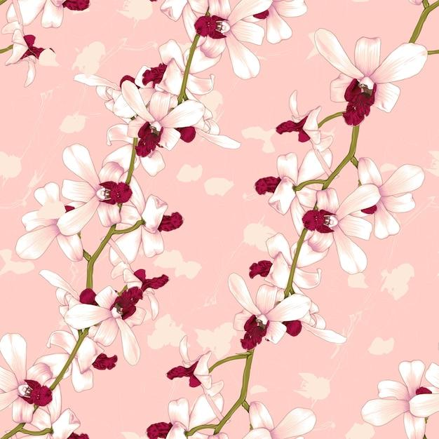 Rosa orchideenblumen des nahtlosen musters Premium Vektoren