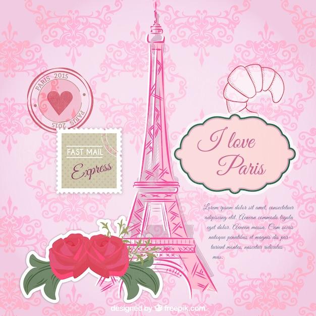 Rosa paris-kartenschablone Kostenlosen Vektoren