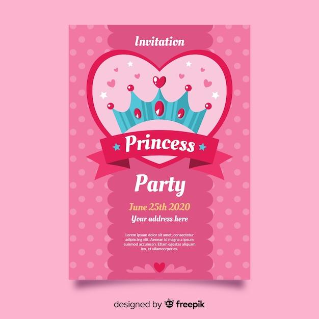 Rosa prinzessin party einladungsvorlage Kostenlosen Vektoren