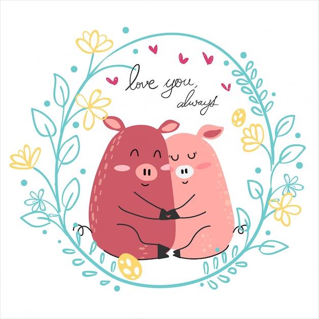 Rosa schweinliebhaberumarmung der netten zeichnungspaare zusammen Premium Vektoren