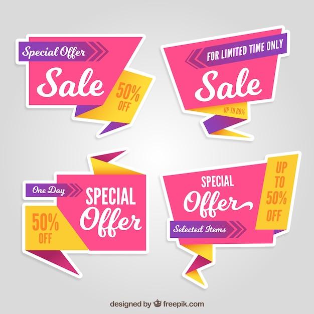 Rosa und gelbe origami rabatt aufkleber Premium Vektoren