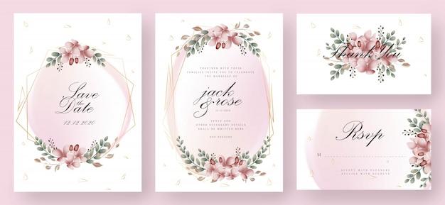 Rosa und goldblumenhochzeits-einladungs-karte Premium Vektoren
