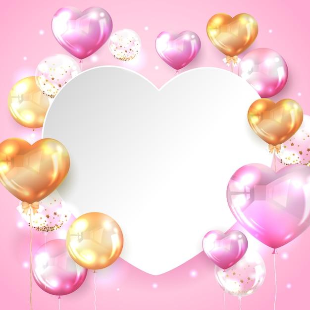Rosa und goldglatter ballon mit kopienraum in der herzform Kostenlosen Vektoren