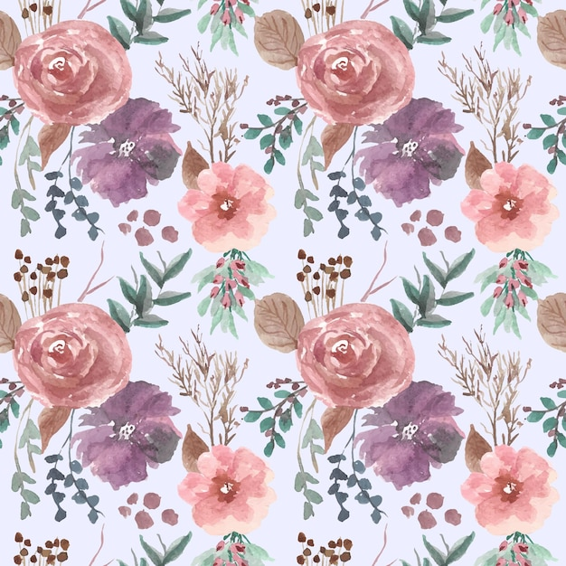 Rosa und lila blumenanordnung probiert musteraquarell Premium Vektoren