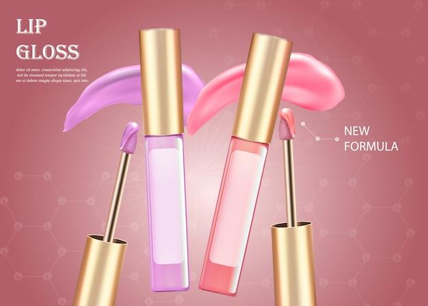 Rosa und lila flüssiger lippenstift im rohr. bilden. Premium Vektoren