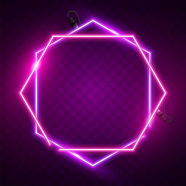 Rosa und purpurrote sechseckige neonfahne Premium Vektoren