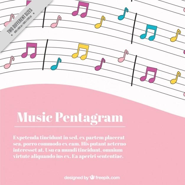 Rosa und weißen hintergrund mit musiknoten in verschiedenen farben Kostenlosen Vektoren