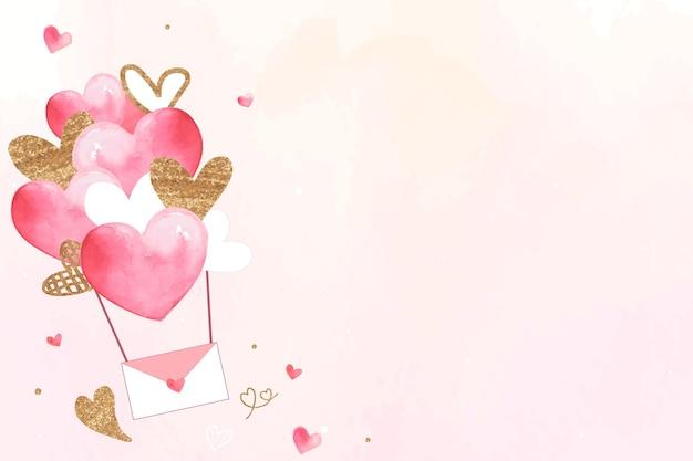 Rosa valentinstaghintergrund mit fliegendem liebesbrief Kostenlosen Vektoren