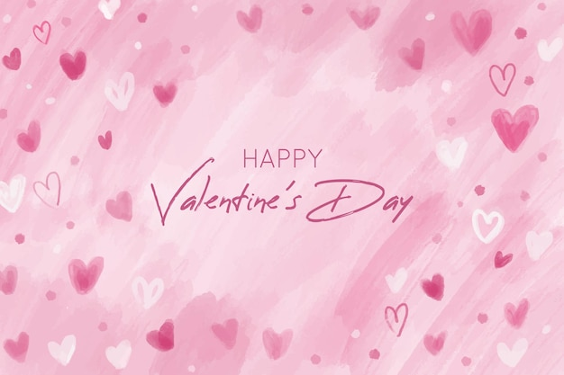 Rosa valentinstaghintergrund mit hand gezeichneten herzen Kostenlosen Vektoren