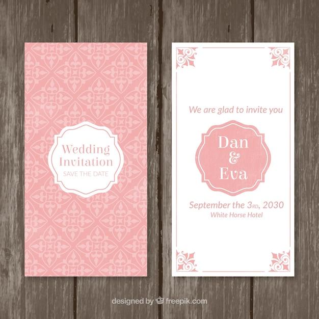 Rosa Vintage Hochzeitseinladung Download Der Kostenlosen Vektor