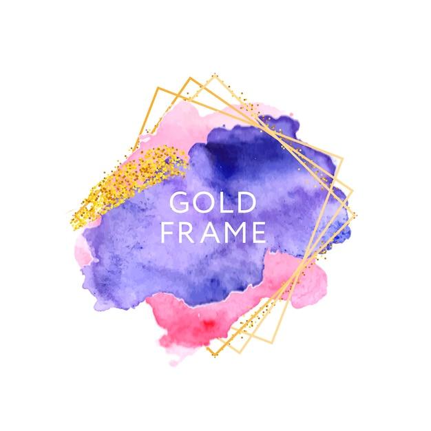 Rosa violette pinselstriche und goldener rahmen. Premium Vektoren