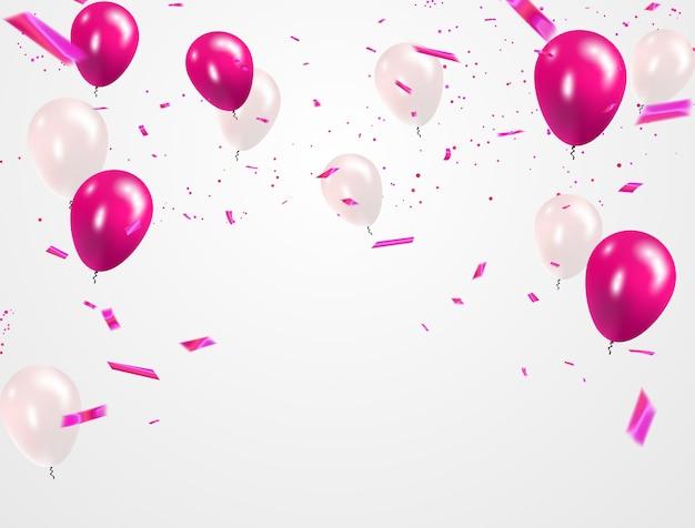 Rosa weiße ballons, konfetti Premium Vektoren