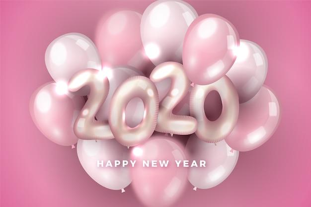 Rosa zusammenstellung des neuen jahres 2020 der ballone Kostenlosen Vektoren