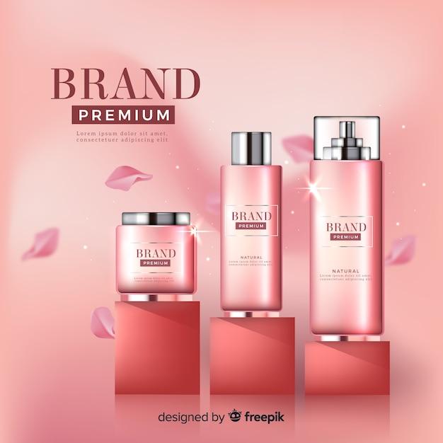 Rosafarbene kosmetische anzeige Kostenlosen Vektoren