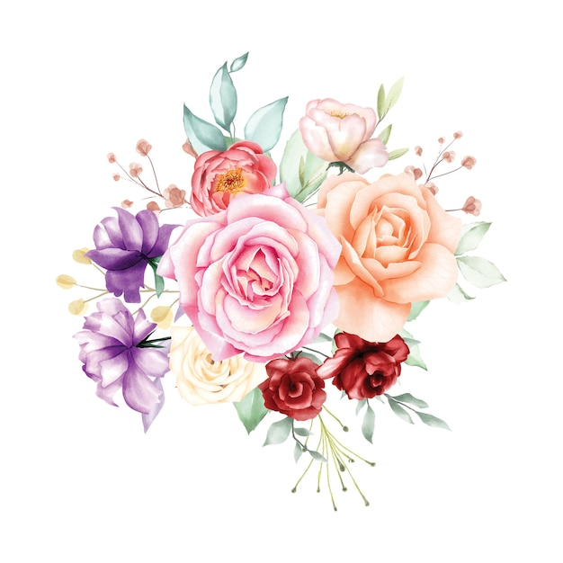 Rosafarbener blumenstrauß des aquarells backfround Premium Vektoren