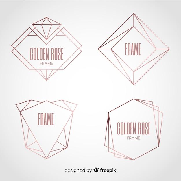 Rosafarbenes goldrahmenset der metallischen beschaffenheit Kostenlosen Vektoren
