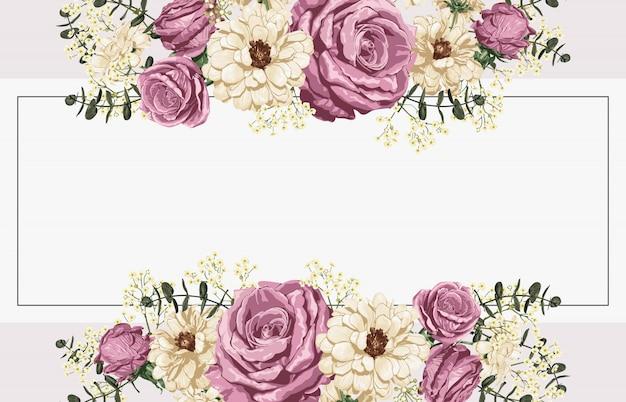 Rosarose und hintergrunddesign der weißen gänseblümchen. Premium Vektoren