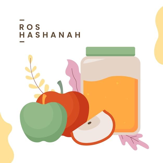Rosch haschana mit honig und äpfeln Kostenlosen Vektoren