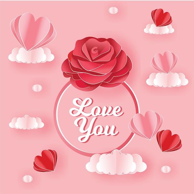 Rose des valentinsgrußtages mit papierkunstart Premium Vektoren