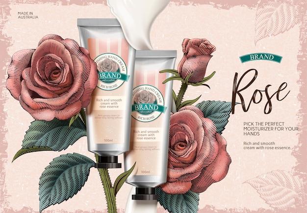 Rose handcreme anzeigen, exquisite handcreme produkt und cremige textur in der illustration mit rosendekorationen im radierungsschattierungsstil Premium Vektoren