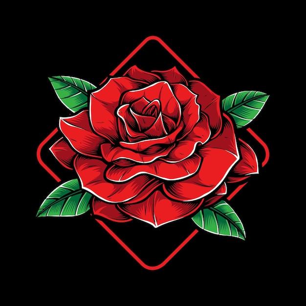Rose mit quadratischem rahmenhintergrund Premium Vektoren