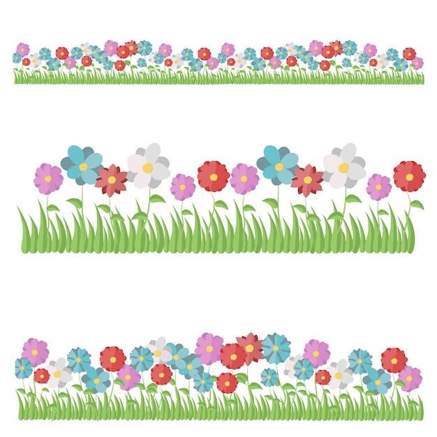 Rose, nelke, dahlie, kamille, tulpe, iris, gazania, lilie, chrysantheme, narzisse Premium Vektoren