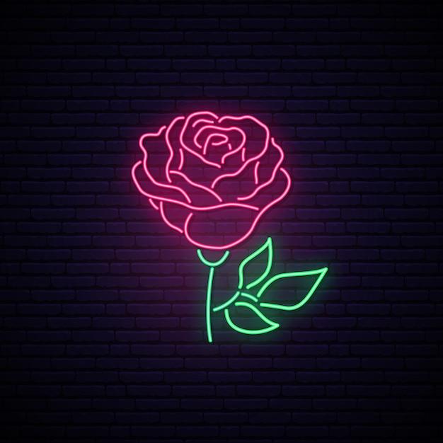 Rose neonzeichen. Premium Vektoren