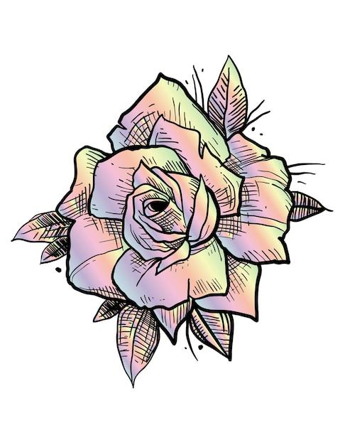 Rose rainbow tattoo Premium Vektoren
